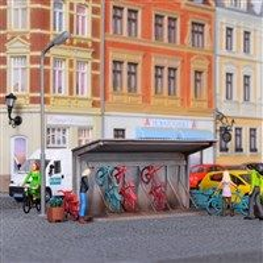 Kibri 38143 HO fietsenstalling met fietsen