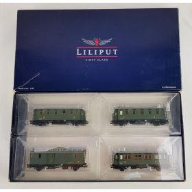 Liliput L350013 H0 Set van vier sierlijke personenrijtuigen van de DRG