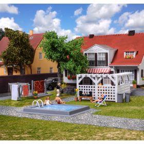 Kibri 38148 H0 decoratie set tuin en terras met zwembaden