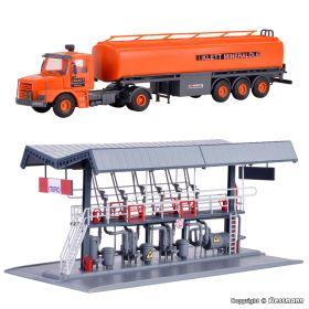 Kibri 39834 H0 MIRO afvulstation met vrachtwagen Scania