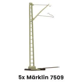 Märklin 7509 H0 Bovenleidingmast losse voet k-rail - 5 Stuks